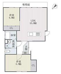 福岡県福岡市中央区平尾5丁目の賃貸アパートの間取り