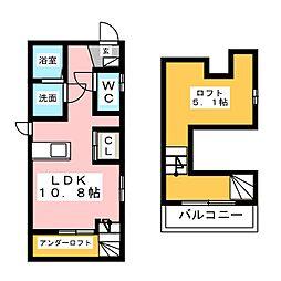 愛知県名古屋市西区笠取町4の賃貸アパートの間取り