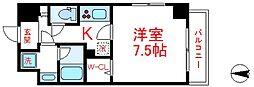 東武伊勢崎線 西新井駅 徒歩15分の賃貸マンション 2階1Kの間取り