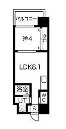 FDS AZUR 2階1LDKの間取り