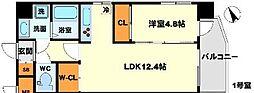 おおさか東線 南吹田駅 徒歩4分の賃貸マンション 3階1LDKの間取り