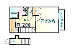 仙台市地下鉄東西線 国際センター駅 徒歩7分の賃貸アパート 2階1Kの間取り
