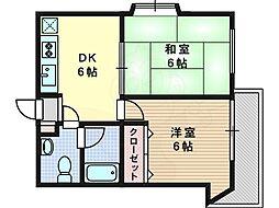 ダリヤハイツ 2階2DKの間取り