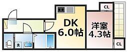 仮称:ハーモニーテラス新今里七丁目 2階1DKの間取り