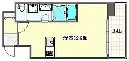 タクトステイ大阪弁天町 6階ワンルームの間取り
