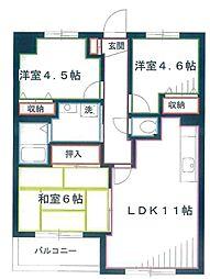 サンライフマンションII 1階3LDKの間取り