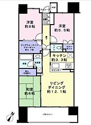 クレストシティレジデンス 7階3LDKの間取り