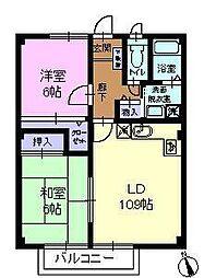 広島県福山市神辺町字徳田の賃貸アパートの間取り