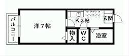 福岡県北九州市門司区下馬寄の賃貸アパートの間取り