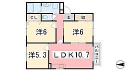 兵庫県姫路市勝原区丁の賃貸アパートの間取り
