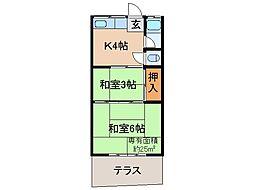 京都府京都市伏見区醍醐東合場町の賃貸アパートの間取り
