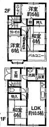 [一戸建] 神奈川県厚木市旭町2丁目 の賃貸【神奈川県 / 厚木市】の間取り