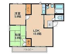 M'sガーデンプラザA・B・C[2階]の間取り