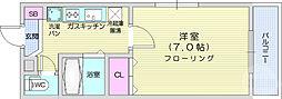 JR仙山線 北山駅 3.6kmの賃貸マンション 2階1Kの間取り