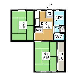 メゾンドール桜川[2階]の間取り
