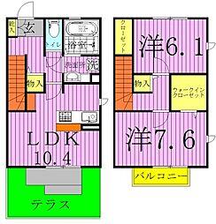 (仮)D-roomTV花野井A・B[B-101号室]の間取り