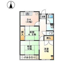 愛知県名古屋市西区砂原町の賃貸マンションの間取り