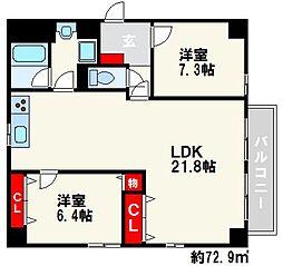 ディーフラット大濠II[4階]の間取り