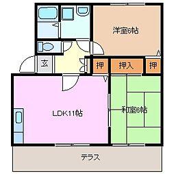 アベニーダHISA B棟[1階]の間取り