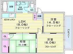 仙台市営南北線 北仙台駅 徒歩13分の賃貸アパート 1階3LDKの間取り