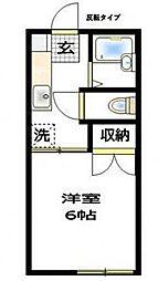 小田急小田原線 玉川学園前駅 徒歩15分の賃貸アパート 2階1Kの間取り