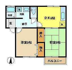 埼玉県さいたま市中央区桜丘1丁目の賃貸アパートの間取り