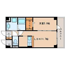 近鉄大阪線 二上駅 徒歩1分の賃貸マンション 6階1SLDKの間取り