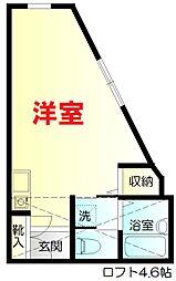 京急本線 日ノ出町駅 徒歩8分の賃貸アパート 2階ワンルームの間取り