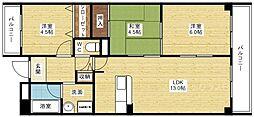 生島リバーサイドマンションD棟[6階]の間取り