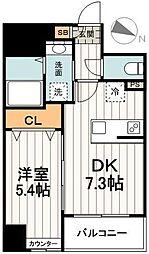 ペイサージュ文京 2階1DKの間取り
