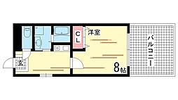 兵庫県神戸市兵庫区西上橘通1丁目の賃貸アパートの間取り