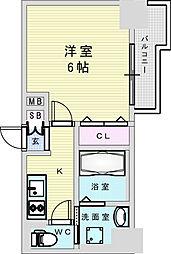 Osaka Metro御堂筋線 新大阪駅 徒歩8分の賃貸マンション 13階1Kの間取り