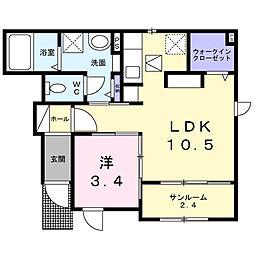 南海高野線 金剛駅 徒歩20分の賃貸アパート 1階1LDKの間取り