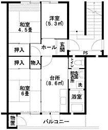 UR泉北桃山台1丁団地[3階]の間取り