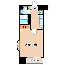 セントフィールド上杉 8階ワンルームの間取り