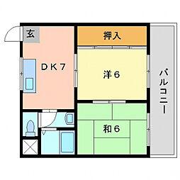 第1松田ハイム[4階]の間取り