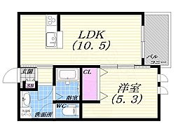 レジデンスシーズ2 2階1LDKの間取り
