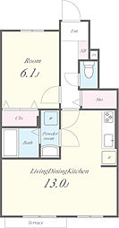 LIVRE 2(リーヴル2)[102号室]の間取り