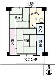 ビレッジハウス愛宕 2号棟[3階]の間取り