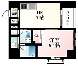 Osaka Metro御堂筋線 江坂駅 徒歩16分の賃貸マンション 7階1DKの間取り