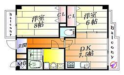 バリューコート壱番館[4階]の間取り