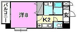 メゾンドール錦町 2階1Kの間取り