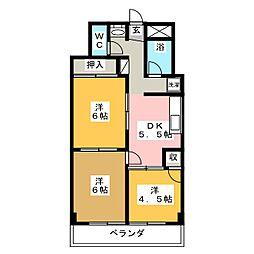 五橋ニューレジデンス[3階]の間取り