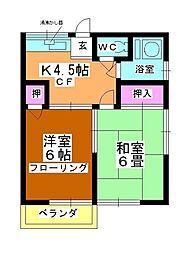第2矢ヶ崎荘[201号室]の間取り