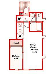カームプレイB棟[1階]の間取り