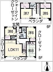 パストラーレ[6階]の間取り