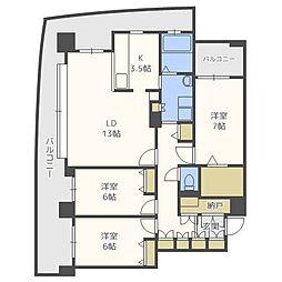 北海道札幌市中央区南一条西19丁目の賃貸マンションの間取り