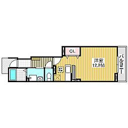 愛知県名古屋市中川区服部4丁目の賃貸アパートの間取り