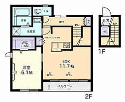仮称)中3丁目Aマンション 2階1LDKの間取り