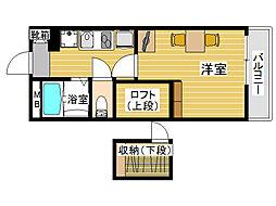 レオパレスカメリア西片江[1階]の間取り